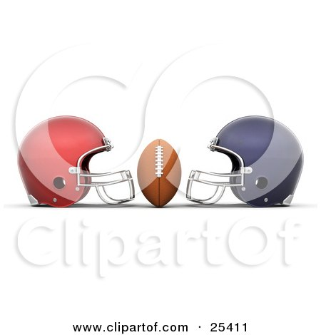 Football Centered Between Red And Blue Helmets Posters, Art Prints