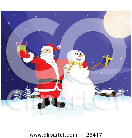 Clipart Illustration of Santa Claus And Frosty The Snowman Standing Under A Full Moon, Outside On A Snowy Wintry Night, Holding Christmas Presents by Paulo Resende