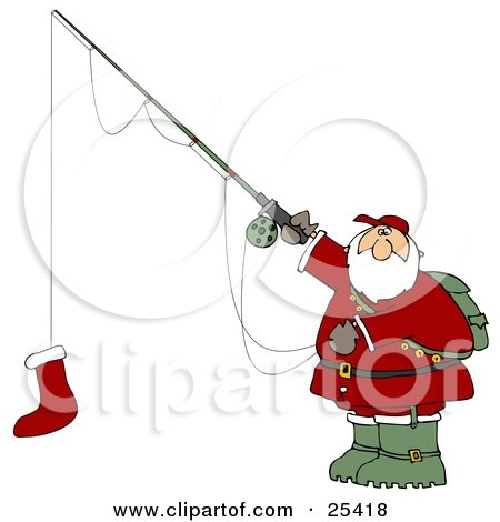 Clipart Illustration of Santa Holding A Red Christmas Stocking On A Fishing Pole Hook by djart