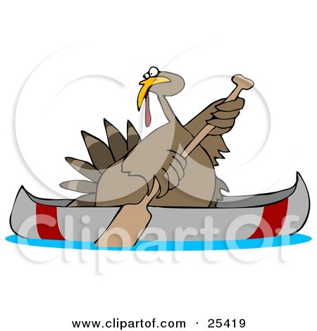 Thanksgiving Turkey Bird Escaping From Being Butchered While Paddling Away In A Canoe Posters, Art Prints