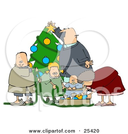 Clipart Illustration of a White Family With A Father, Mother, Brother, Sister And Baby, Decorating A Christmas Tree Together by Dennis Cox