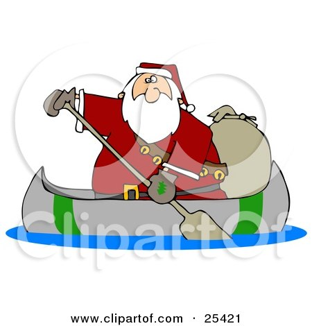 Clipart Illustration of Santa Paddling A Canoe With A Sack Of Toys Behind Him by djart