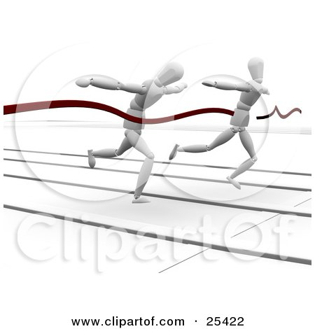 Clipart Illustration of Two Competitive Racing White Figure Characters Sprinting On A Track At The Finish Line by KJ Pargeter