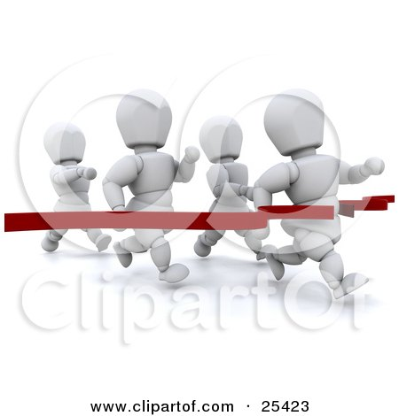 Clipart Illustration of a White Character Breaking Through A Red Ribbon, Making First Place In A Running Race by KJ Pargeter