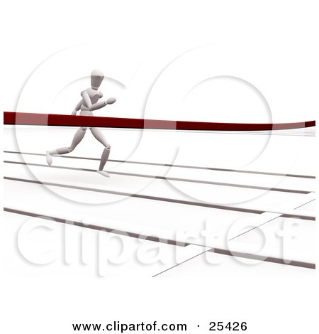 Clipart Illustration of a Racing White Figure Character Sprinting On A Track, Nearing The Finish Line by KJ Pargeter