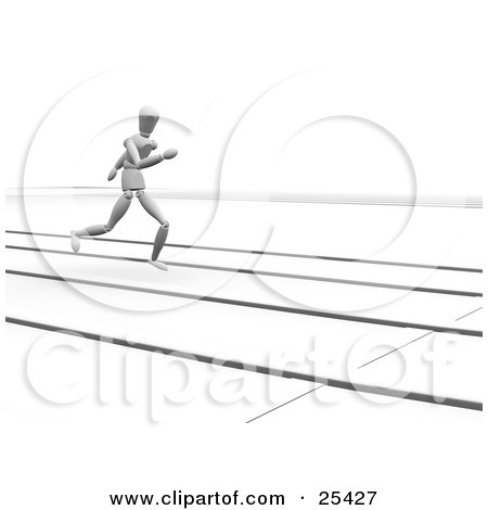 Clipart Illustration of a Jogging White Figure Character In A Lane On A Track by KJ Pargeter