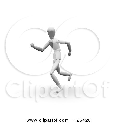 Clipart Illustration of a Athletic White Figure Character Running On A Track by KJ Pargeter