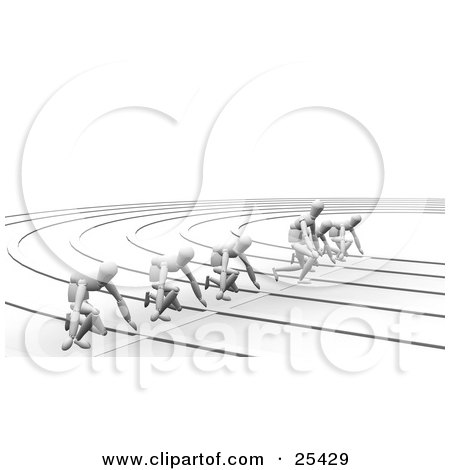 Clipart Illustration of a Line Of White Figure Characters Ready For The Start Of A Race, One Cheating And Taking Off Early by KJ Pargeter