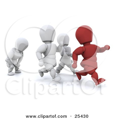 Clipart Illustration of a Running Red Figure Character Leading In Front Of White People, One Falling Behind To Catch Their Breath by KJ Pargeter