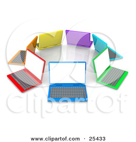 Stock Illustration of a Colorful Circle Of Yellow, Purple, Blue, Green, Red And Orange Laptop Computers by 3poD