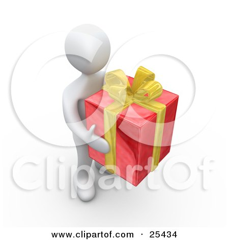 Clipart Illustration of a White Person Carrying A Big Red And Yellow Christmas Present by 3poD
