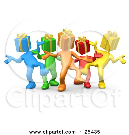 Clipart Illustration of a Group Of Diverse And Colorful People With Present Heads, Dancing At A Party by 3poD