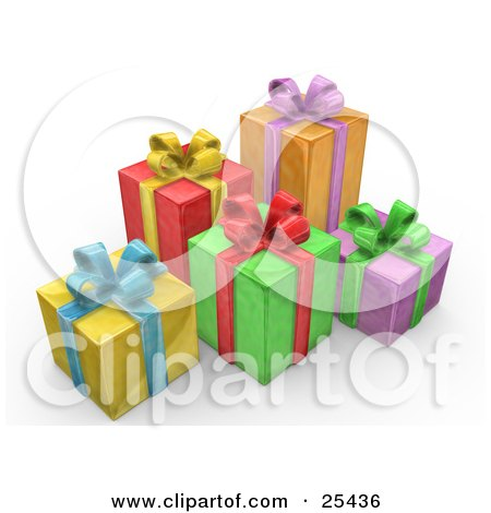Clipart Illustration of Yellow, Red, Green, Orange And Purple Christmas Presents With Blue, Yellow, Red, Purple And Green Bows And Ribbons by 3poD