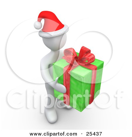 Clipart Illustration of a White Person Wearing A Santa Hat, Carrying A Big Green And Red Christmas Present by 3poD