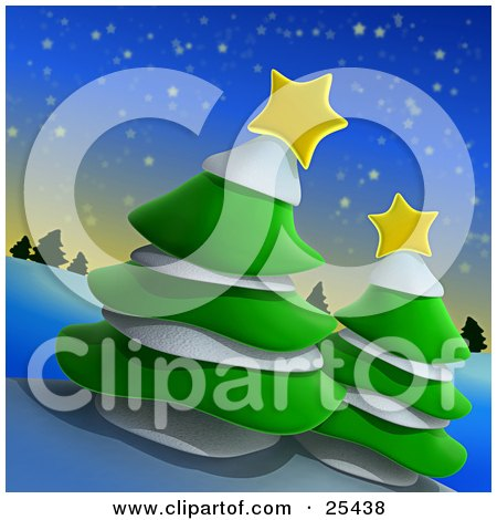 Clipart Illustration of Two Green Evergreen Trees With Snow And Yellow Stars On A Hill On A Wintry Night by 3poD