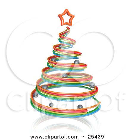Red, Yellow and Blue Spiral Christmas Tree With Silver Ornaments and a Star Posters, Art Prints