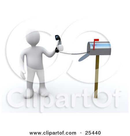 Clipart Illustration of a White Person Holding A Corded Phone From Inside A Mailbox, Symbolizing Fast Service by 3poD