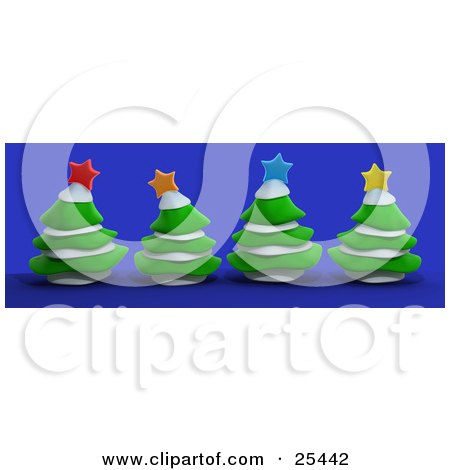 Clipart Illustration of Four Evergreen Trees With Snow, Topped With Colorful Christmas Stars, Over Blue by 3poD