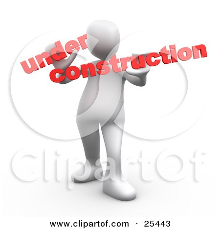 Clipart Illustration of a White Person Holding Red Text Reading Under Construction by 3poD