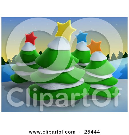 Clipart Illustration of Four Evergreen Trees Topped With Colorful Christmas Stars And Snow, On A Wintry Hill At Dusk by 3poD