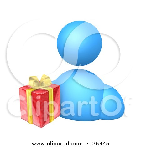 Clipart Illustration of a Blue Avatar Person With A Christmas Gift Wrapped In Red Paper With Yellow Ribbons And Bows by 3poD