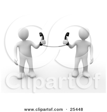 Clipart Illustration of a Two White People Holding Telephone Receivers Attached To The Same Cord, Symbolizing Long Distance, Local Calls And Customer Service by 3poD