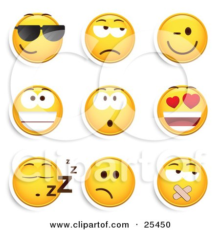 Clipart Illustration of a Group Of Cool, Grouchy, Winking, Smiling, Surprised, Infatuated, Sleeping And Silenced Yellow Emoticon Faces by beboy