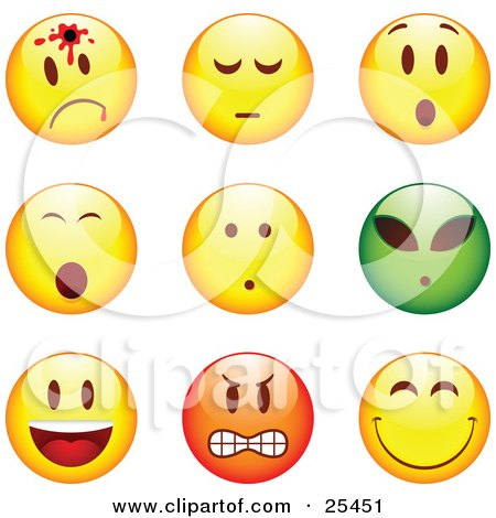 Clipart Illustration of a Group Of Shot, Shocked, Alien, Happy, Mad And Grinning Yellow, Green And Red Emoticon Faces by beboy