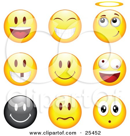 Clipart Illustration of a Group Of Happy, Angelic, Goofy And Upset Black And Yellow Emoticon Faces by beboy