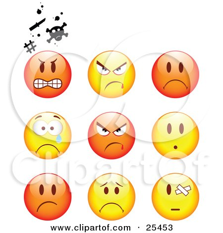 Clipart Illustration of a Group Of Mad, Angry, Bully, Crying And Bandaged Red And Yellow Emoticon Faces by beboy