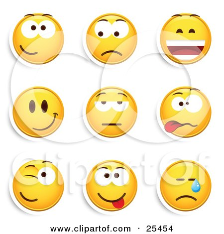 Clipart Illustration of a Group Of Friendly, Upset, Laughing, Happy, Bored, Goofy, Winking And Crying Yellow Emoticon Faces by beboy