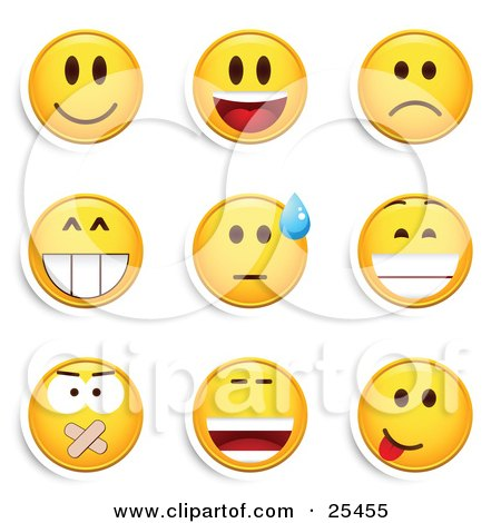 Clipart Illustration of a Group Of Smiling, Laughing, Sad, Grinning, Silenced And Goofy Yellow Emoticon Faces by beboy