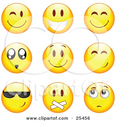 Clipart Illustration of a Group Of Winking, Smiling, Happy, Awed, Cool, Silenced And Nervous Yellow Emoticon Faces