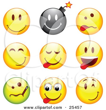 Clipart Illustration of a Group Of Happy, Bomb, Goofy, Teasing, Sick And Winking Black, Green And Yellow Emoticon Faces by beboy