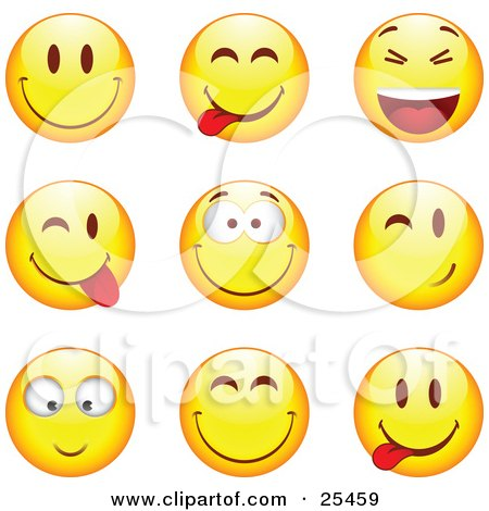 Clipart Illustration of a Group Of Smiling, Teasing, Laughing, Grinning, And Winking Yellow Emoticon Faces by beboy