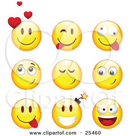 Clipart Illustration of a Group Of Infatuated, Teasing, Goofy And Bomb Yellow Emoticon Faces by beboy