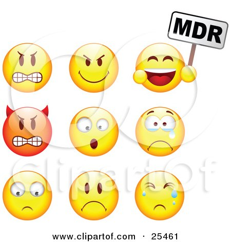 Clipart Illustration of a Group Of Mad, Mean, Devil, Scared, Crying And Upset Red And Yellow Emoticon Faces by beboy