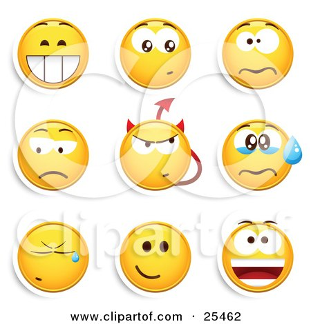 Clipart Illustration of a Group Of Grinning, Nervous, Mad, Devil, Crying And Smiling Yellow Emoticon Faces by beboy