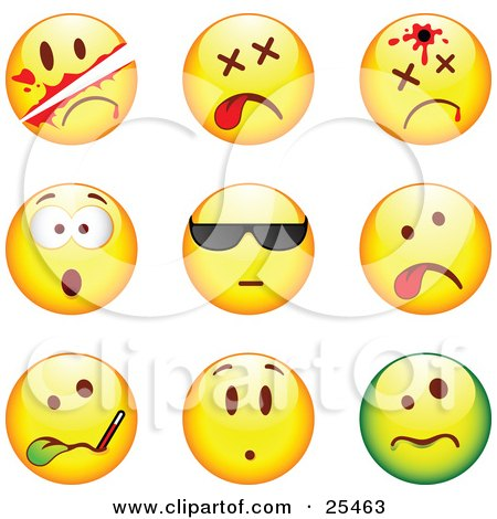 Clipart Illustration of a Group Of Sliced, Dead, Shot, Shocked, Cool, Sick And Upset Green And Yellow Emoticon Faces by beboy