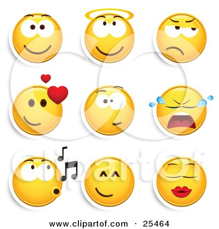 Clipart Illustration Of A Group Of Smiling Angelic Grumpy Infatuated Crying Whistling And Kissing Yellow Emoticon Faces
