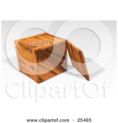 Clipart Illustration of a Heavy Duty Wooden Shipping Crate On Its Side, With The Top Off, Marked As Fragile by KJ Pargeter