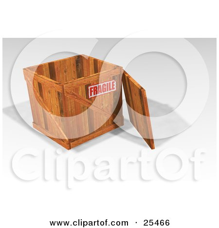 Clipart Illustration of a Heavy Duty Wooden Shipping Crate With The Lid Resting Against The Side And A Fragile Sticker by KJ Pargeter