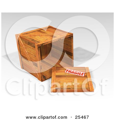 Clipart Illustration of a Heavy Duty Wooden Shipping Crate On Its Side, With The Top Off, Stamped As Fragile by KJ Pargeter