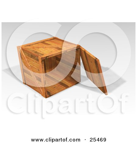 Clipart Illustration of a Heavy Duty Wooden Shipping Crate With The Top Off, Resting On Its Side by KJ Pargeter