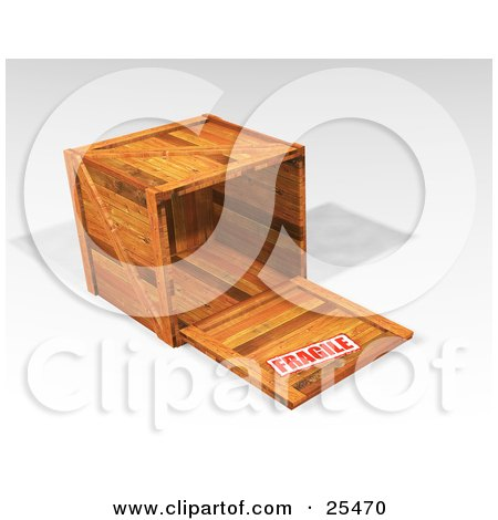 Clipart Illustration of a Fragile Stamped Heavy Duty Wooden Shipping Crate With The Top Off, Resting On Its Side by KJ Pargeter