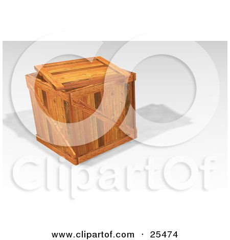 Clipart Illustration of a Heavy Duty Wooden Shipping Crate With The Lid Resting On Top by KJ Pargeter