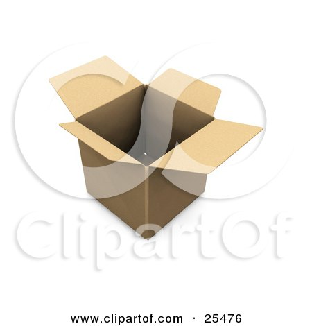 Clipart Illustration of an Empty Open Cardboard Box by KJ Pargeter