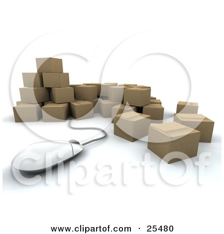 Clipart Illustration of a Computer Mouse Emerging From a Bunch Of Sealed Cardboard Boxes Ready For Shipments by KJ Pargeter