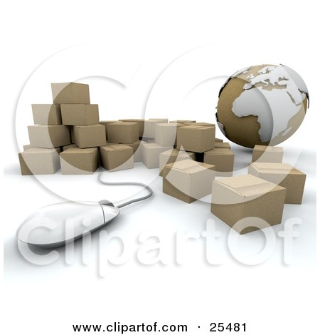 Clipart Illustration of a Globe And Computer Mouse With A Group Of Cardboard Shipping Boxes, International Shipping by KJ Pargeter