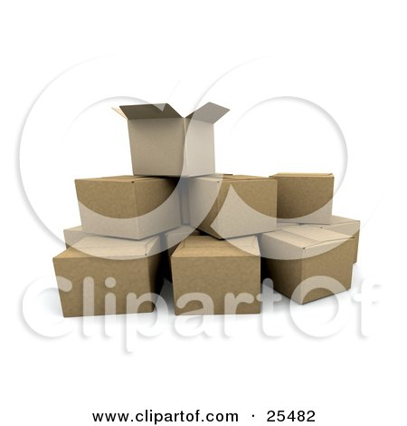 Clipart Illustration of an Opened Cardboard Box On Top Of Stacked Shipping Boxes by KJ Pargeter